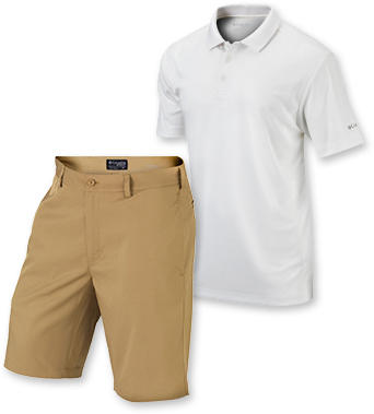 A golf polo and shorts.
