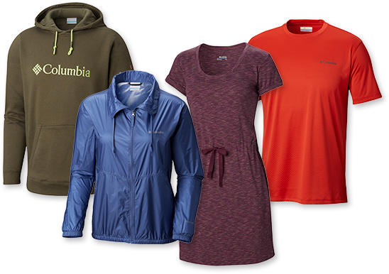 A collection of Columbia apparel for men and women