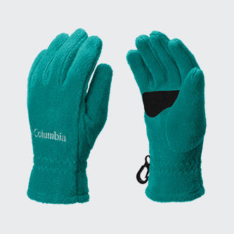 A pair of Columbia fleece gloves.