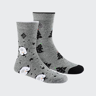 A pair of Columbia winter socks in two different patterns.