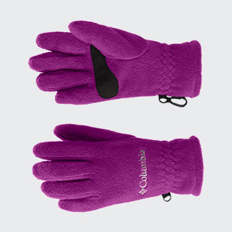 A pair of Columbia purple fleece gloves.