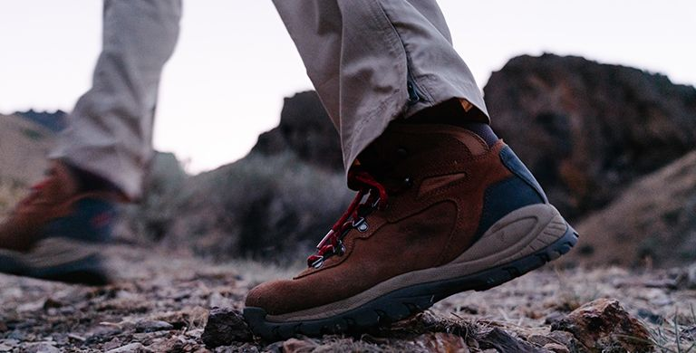 A man wearing hiking boots.