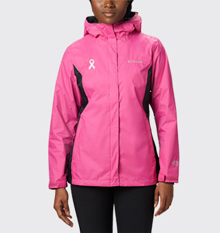 A woman wearing the pink rain jacket.