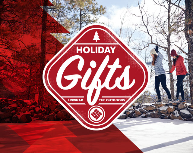Holiday Gifts. Unwrap the outdoors. Two women in the snowy outdoors.