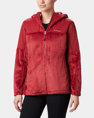 Fire Side plush hooded full-zip fleece for women.