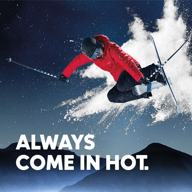Always come in hot. An airborne skier in Columbia gear.
