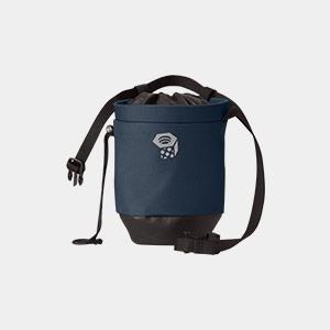 A blue and black Mountain Hardwear chalk bag.