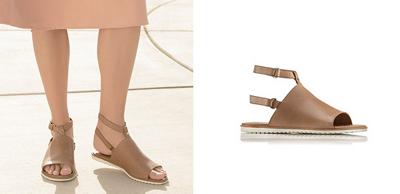 Close-up of tan Ella Mule strap sandals.