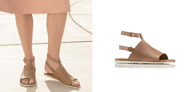 Close-up of tan Ella Mule strap sandals.