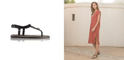 A young woman walks in black Ella T-Strap sandals. Close-up of a black Ella T-Strap.