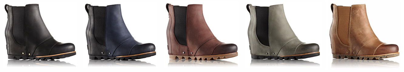 Chelsea style wedge boots in five colors.