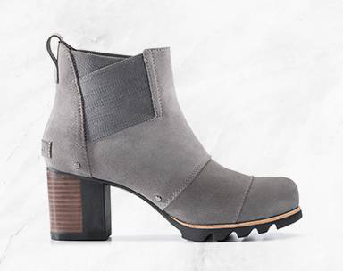A short boot with a block heel.