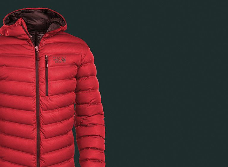 Red StretchDown hooded jacket on dark grey background