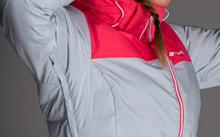 A close up showing a zip under the arm of a ski jacket