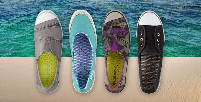 A row of colorful, vented slip-on shoes by Columbia Sportswear