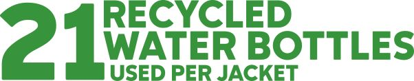 Image stating 21 RECYCLED WATER BOTTLES USED PER JACKET