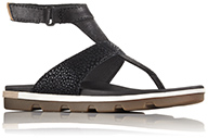 A black thong sandal.