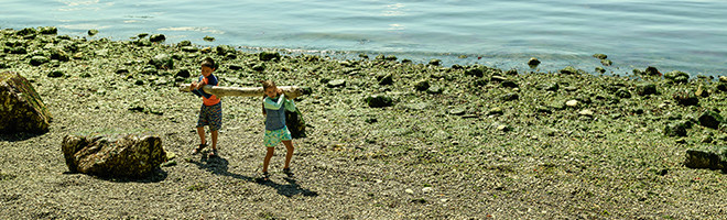 Two kids in beach clothes carrying a log on a beach.
