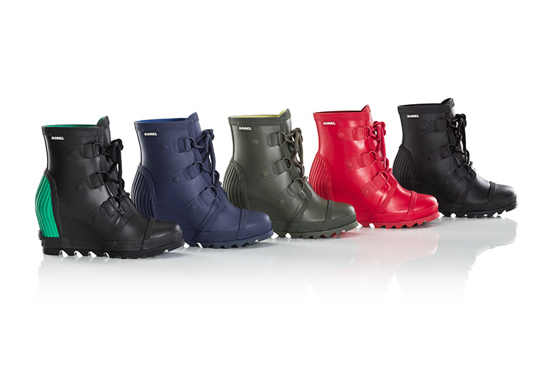 A collection of five rain wedge boots.