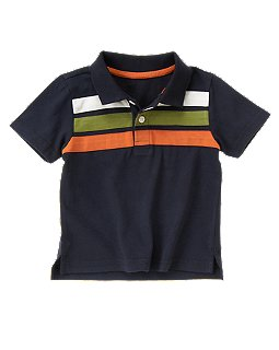 Pieced Stripe Polo Shirt