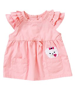 Puppy Pocket Ruffle Top
