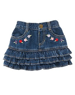 Blossom Tiered Denim Skirt