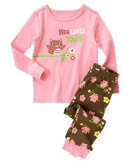 Sparkle Owl Two-Piece Pajama Set