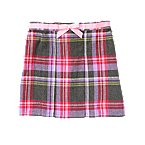 Ribbon Plaid Pleated Skirt