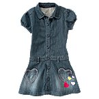 Heart Pocket Denim Shirt Dress