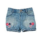 Flower Embroidered Denim Short