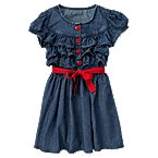 Sash Ruffle Chambray Dress