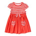 Heart Pocket Stripe Dress