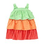 Dot Tiered Colorblock Dress