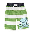 Skull & Crossbones Stripe Swim Trunk