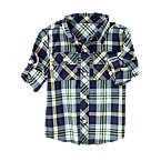 Convertible Roll Cuff Plaid Shirt