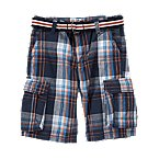 Belted Plaid Canvas Short