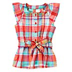 Pintucked Plaid Flutter Top