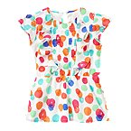 Watercolor Dot Ruffle Top