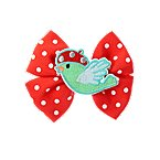 Birdie Dot Ribbon Bow Barrette
