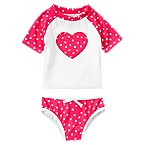 Heart Dot Swim Rash Guard Set