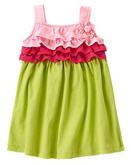 Flower Tiered Colorblock Dress