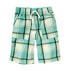 Drawstring Plaid Short