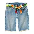Flower Sash Denim Bermuda Short