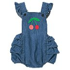 Cherry Embroidered Chambray Romper