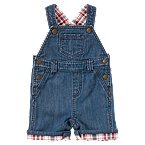 Plaid Cuffed Denim Shortall