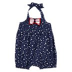 Bow Star Dot Halter Romper