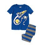 Rocket Ship Shortie Two-Piece Pajama Set