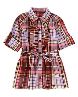 Ruffle Plaid Tunic Top