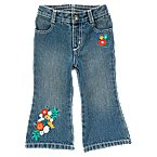 Flower Embroidered Flare Jean