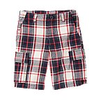 Plaid Canvas Cargo Short